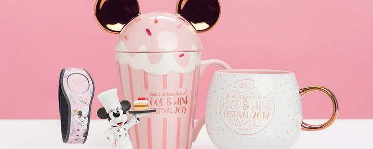 Epcot Food and Wine Festival Merchandise 2019. Pink Cupcake Mickey Mouse Ears on coffee mug.