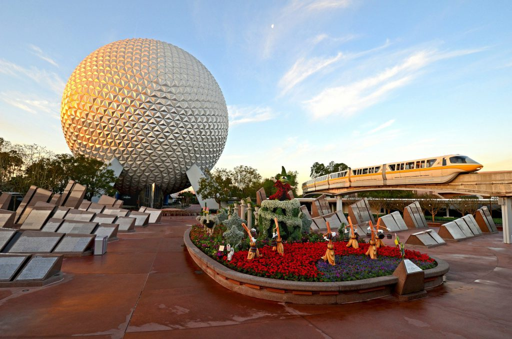 Epcot Food and Wine Festival with Mickey Mouse in front of Space Earth Globe