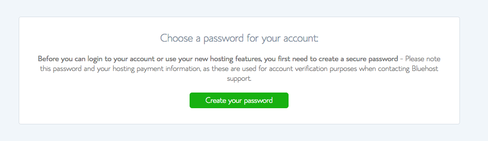 Choose a Bluehost password