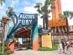 Falcons Fury Busch Gardens Tampa orange and blue drop tower