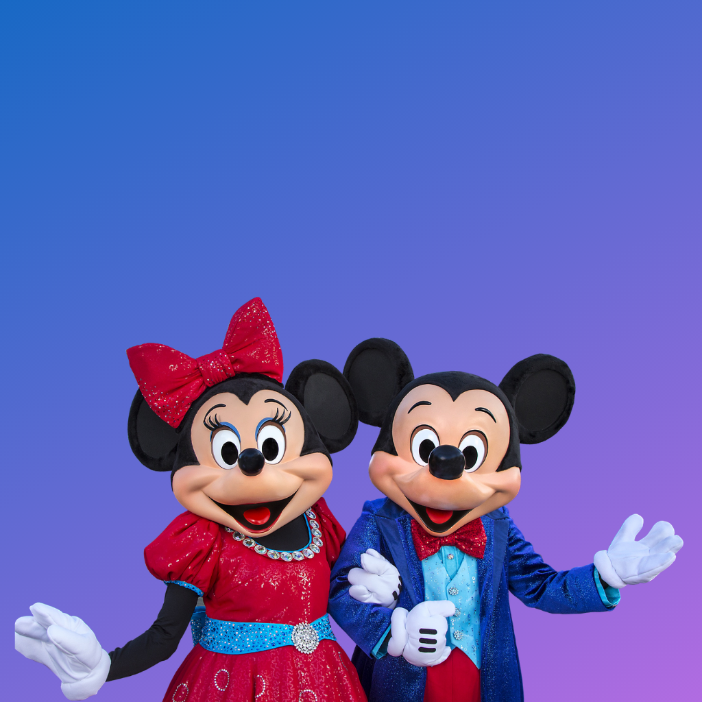 Mickey Mouse and Minnie Mouse red and blue formal wear