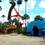 The Phoenix Pantopia Busch Gardens orange and blue swing ride.