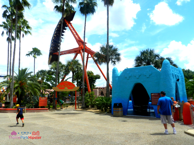 The Phoenix Pantopia Busch Gardens orange and blue swing ride.