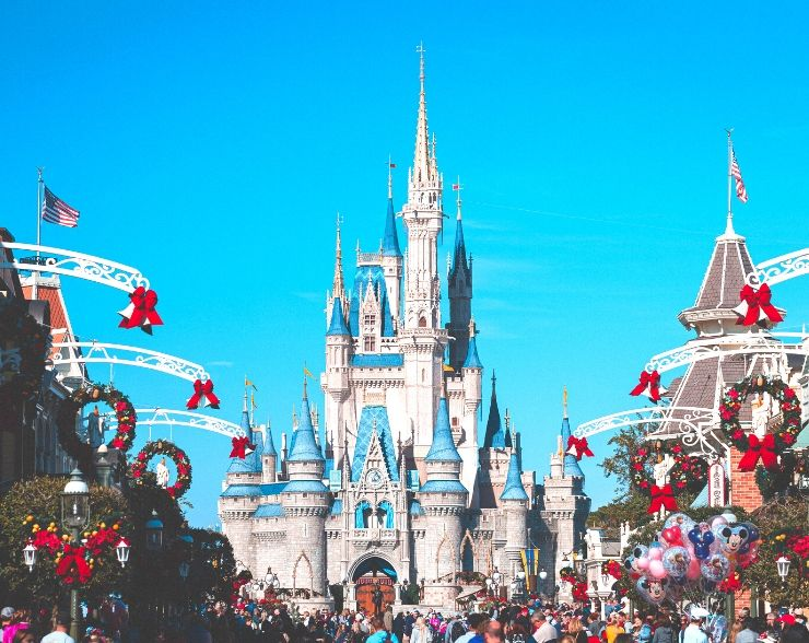 Cinderella Castle Decorated for Christmas at Disney Magic Kingdom