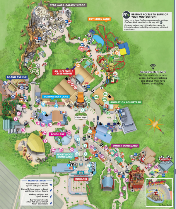 Hollywood Studios Map 2020 and 2021