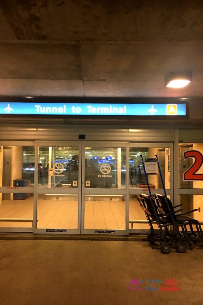 Orlando International Airport Parking Garage Tunnel to Terminal. How to Find Cheap Flights to Disney World
