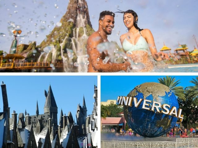 Things to do at Universal Orlando with couple splashing in the water at Volcano Bay.
