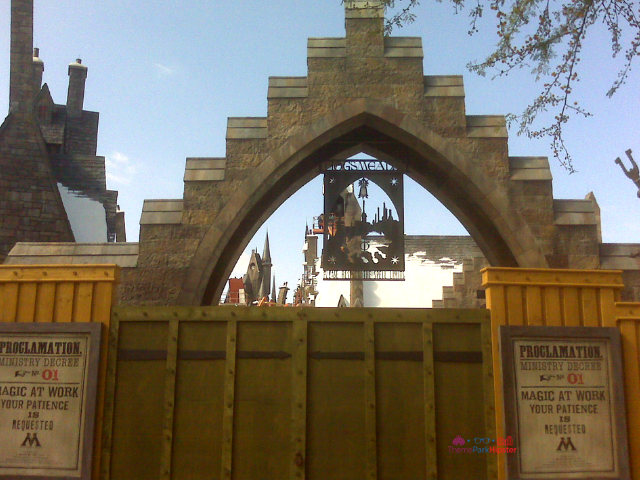 Wizarding World of Harry Potter Construction photos 2010 walls up with Hogwarts castle in the background.