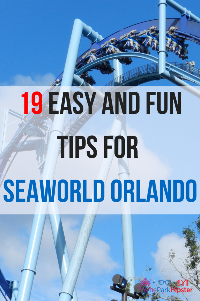 Seaworld Orlando Tips. Large blue Manta roller coasters with passengers facing down.