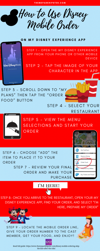 Disney Mobile Ordering Tips and Infograph