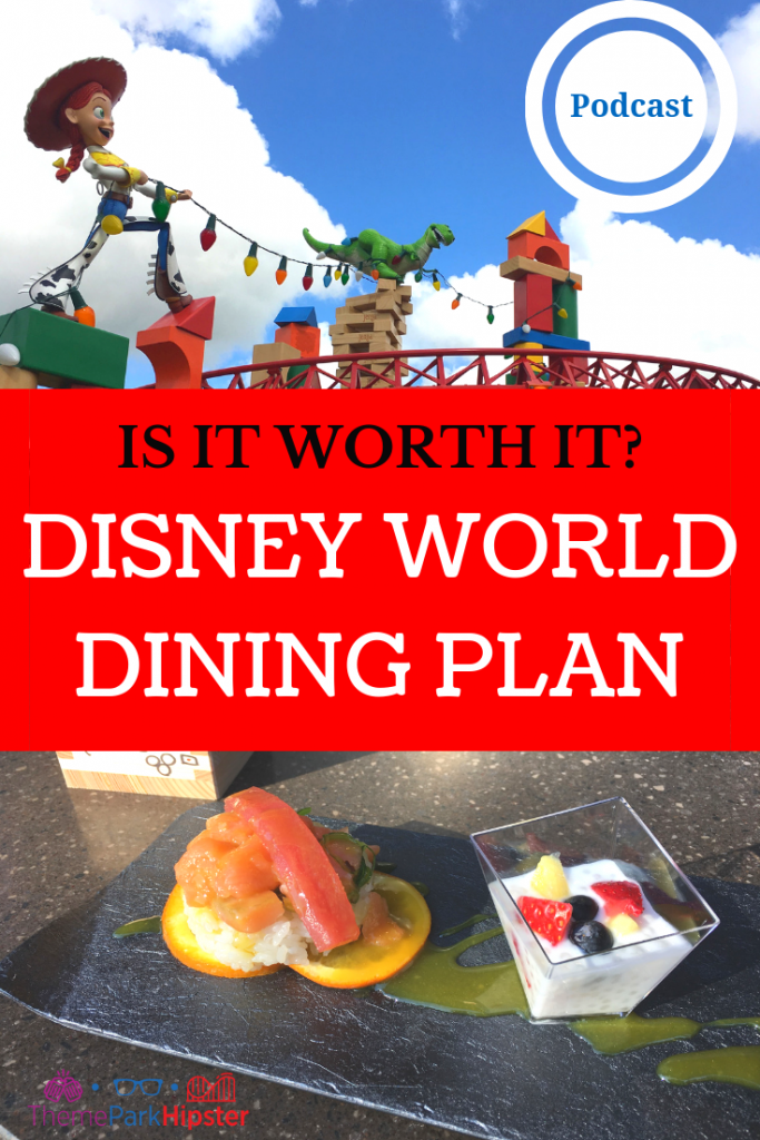 Is Disney Dining Plan Worth It with toy story land red roller coaster in the background.