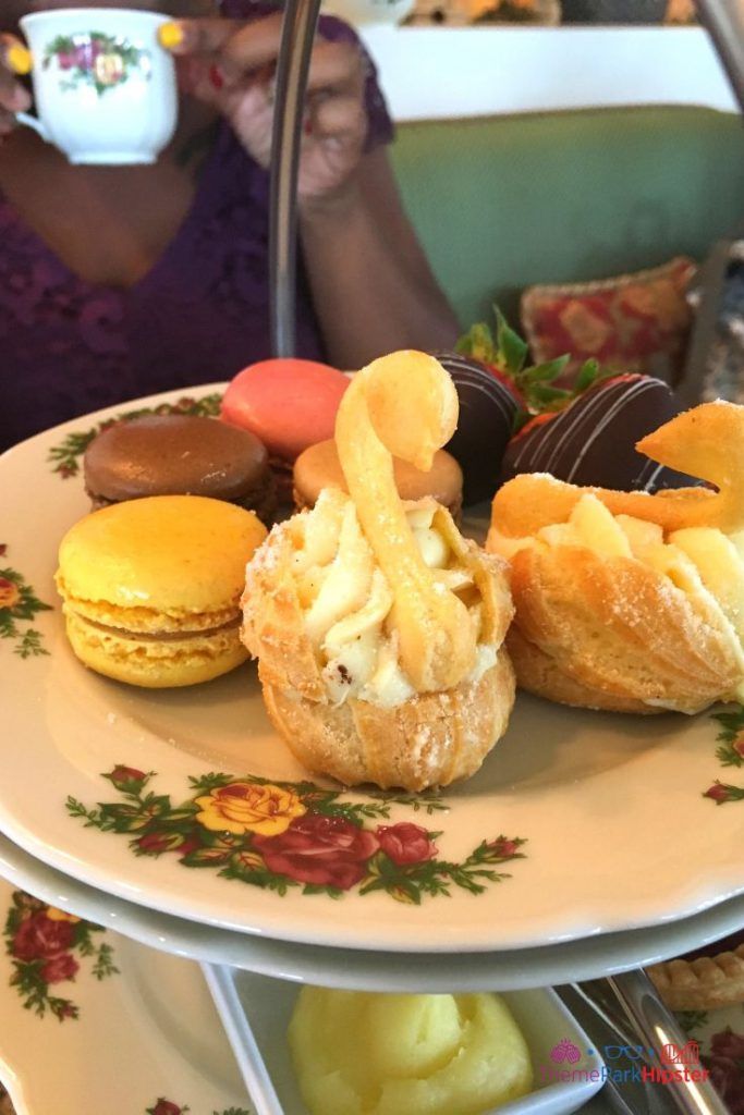 Afternoon Tea Disney World Food Chocolate Strawberries, Macaroon, Puff Swan Pastry