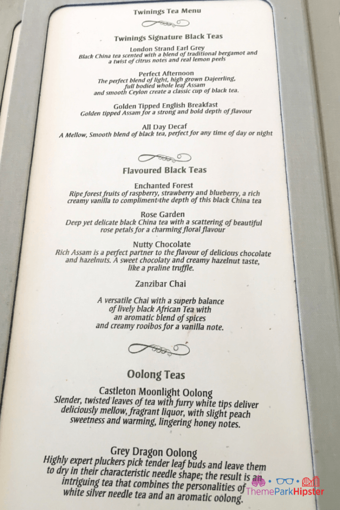 Afternoon Tea Menu Disney World Food