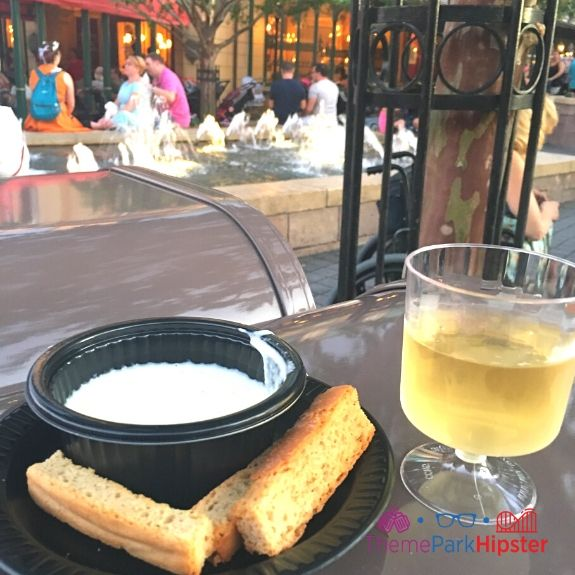 France melted cheese bread and wine at Epcot Food and Wine Festival