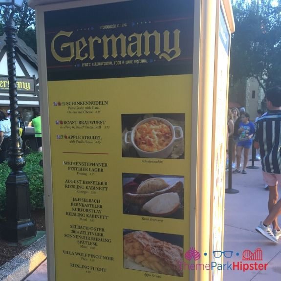Germany Menu at Epcot Food and Wine Festival