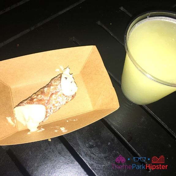 Italy cannoli and Italian margarita at Epcot Food and Wine Festival