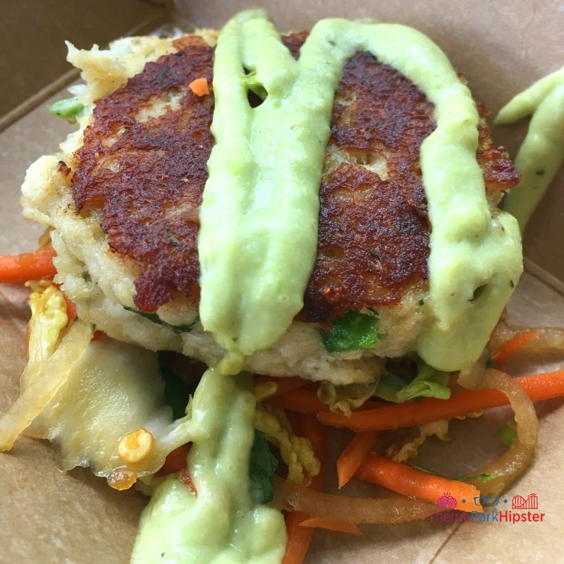 Lump Crab Cake with Napa Cabbage Slaw and Avocado-Lemongrass Cream Coastal Eats Epcot