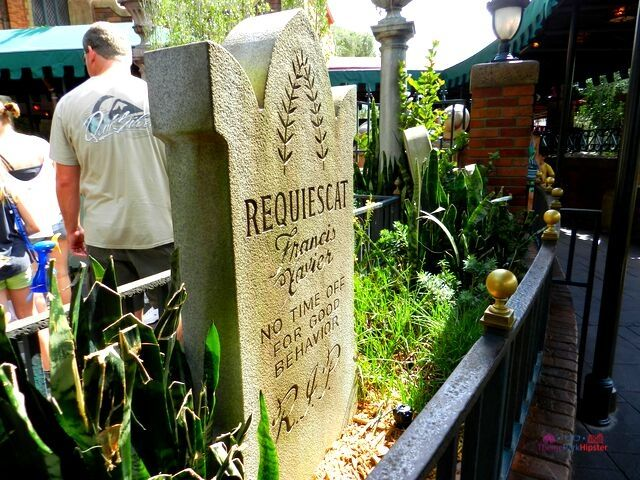 Haunted Mansion tombstone in the Interactive Queue