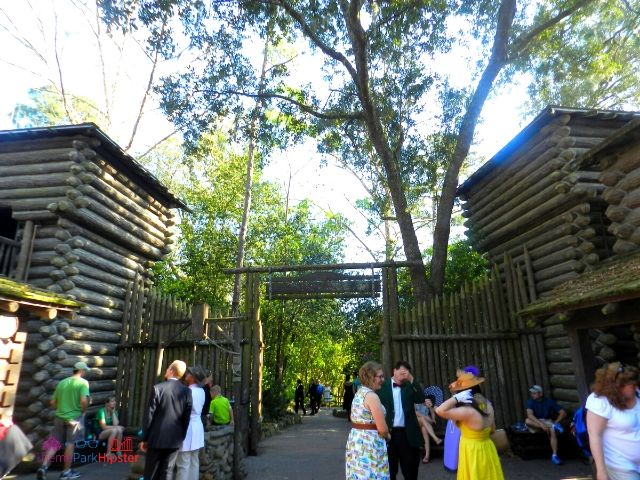 Disney World Tom Sawyer Island Fort with People Standing Around