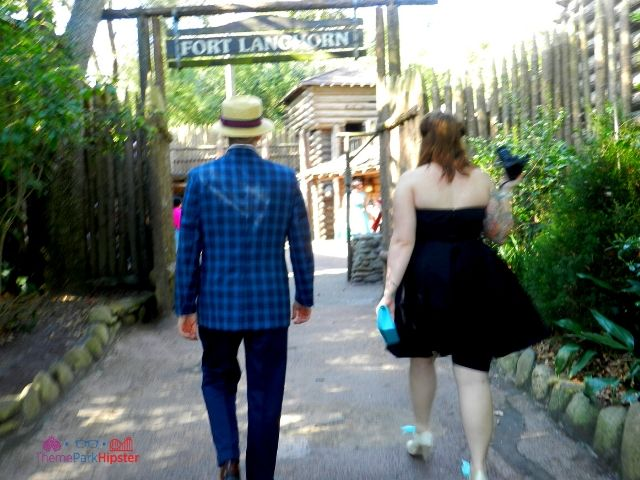 Dapper Day Disney World Tom Sawyer Island Fort with People Walking