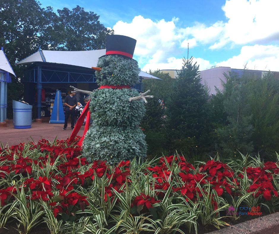 Epcot Festival of the Holidays 13 Park Entrance with Topiary Snowman Holiday Decor