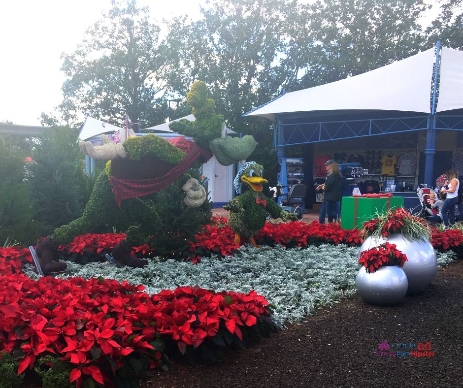 Epcot Festival of the Holidays 14 Park Entrance with Topiary Goofy Holiday Decor