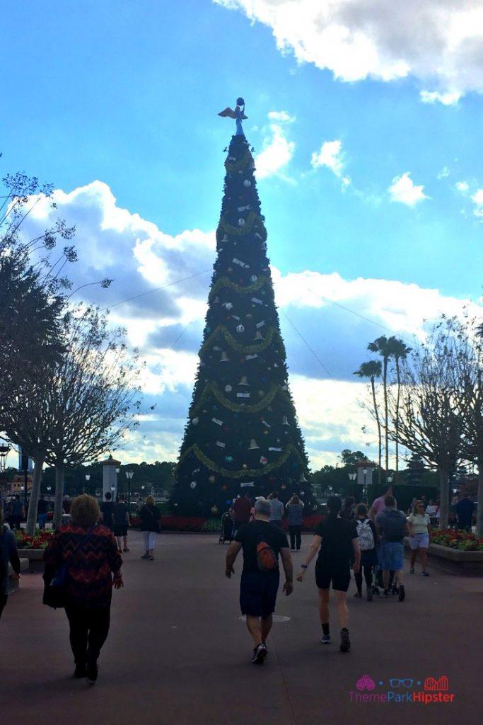 Epcot International Festival of the Holidays 26 World Showcase Entrance Holiday Decor Tall Christmas Tree