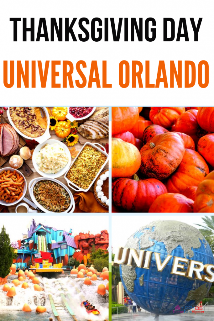 Thanksgiving Day at Universal Orlando Resort. Universal Studios and Islands of Adventure Entrances with Pumpkins.