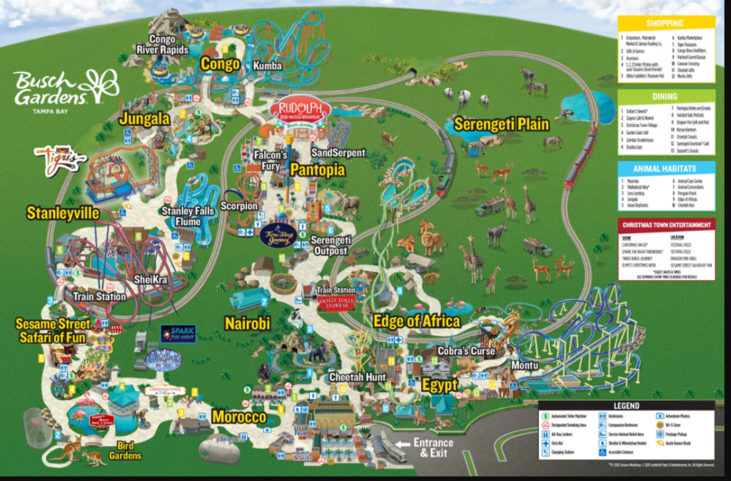 Busch Gardens Christmas Town Map 2020
