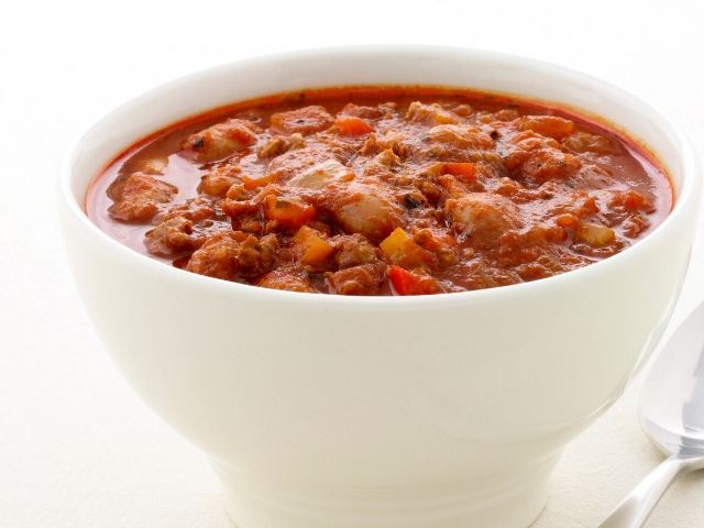 Bowl of Hearty red chili.