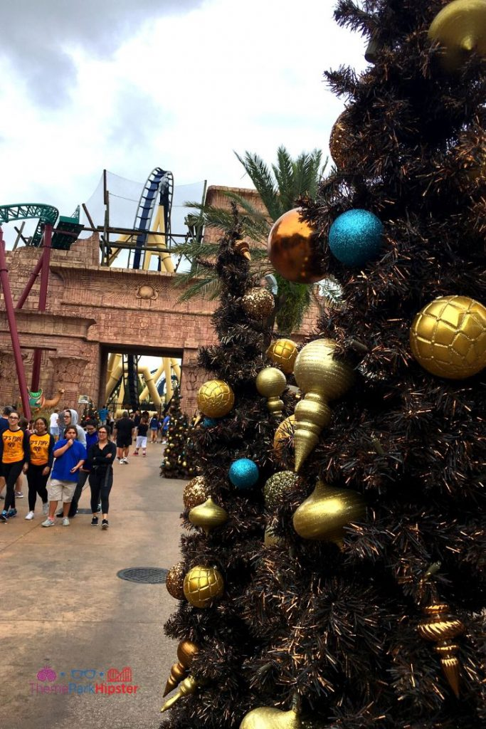 Christmas Town Decoration in Tampa with Christmas Tree near Montu roller coaster