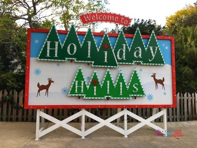 Christmas Town Village at Busch Gardens Welcome to Holiday Hills Sign