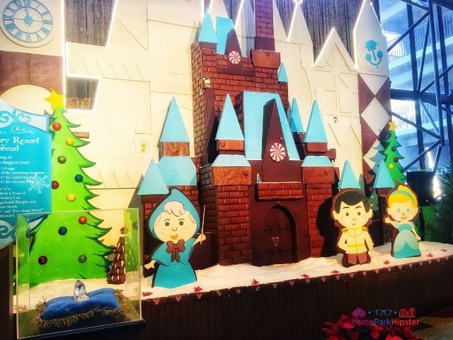 Cinderella Gingerbread House with a Small World Background at Disney Contemporary Resort