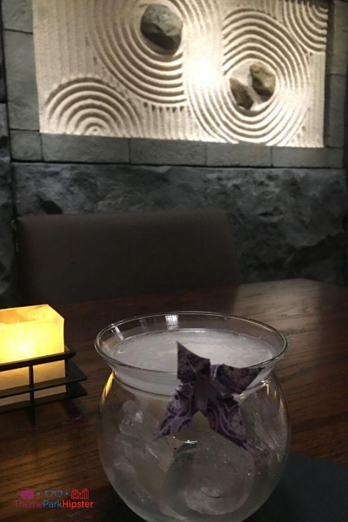 Epcot Japanese Restaurant Takumi Tei Kami which came with Roku Gin, Sayuri 'White Lilly' Nigori Sake, Calipco, and Lychee