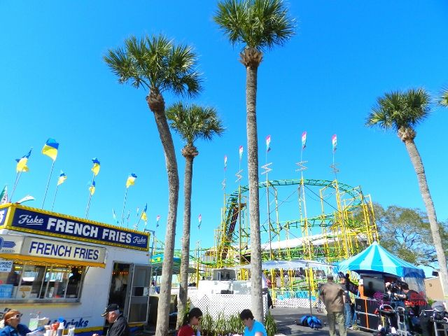 Florida State Fair French Fry Kiosk with Roller Coaster in the background