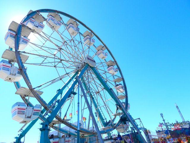 Florida State Fair Large White and Blue Ferris Wheel