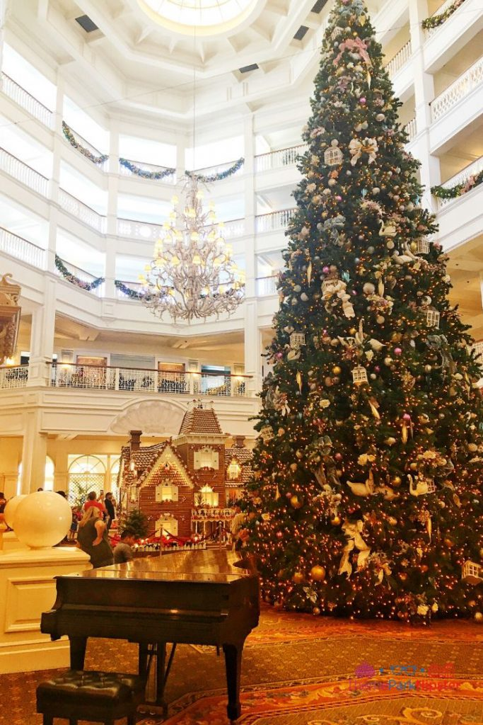 Grand Floridian Gingerbread House with Majestic Christmas Tree and Piano in the Lobby