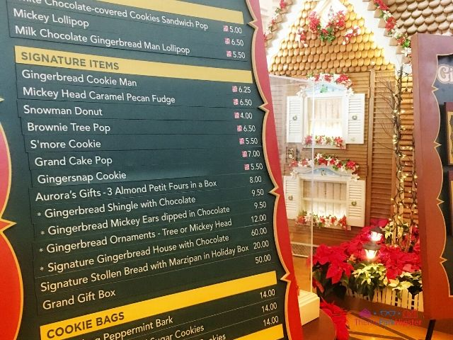 Grand Floridian Resort Gingerbread House Shop Menu
