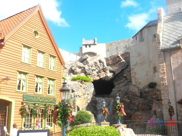 Norway Pavilion at Epcot Maelstrom Ride Opening Where Boat Goes Backwards with Traditional Building Architecture Surrounding