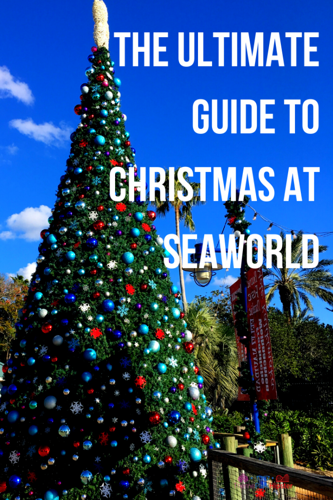 SeaWorld Christmas Celebration Guide and Tips with Giant Christmas Tree and Multi color bulbs