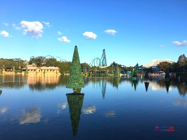 SeaWorld Christmas Celebration Sea of Trees with Mako Purple Roller Coasters in background