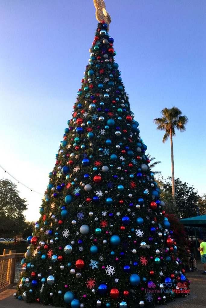 SeaWorld Christmas Celebration with Giant Christmas Tree and blue silver and red bulbs
