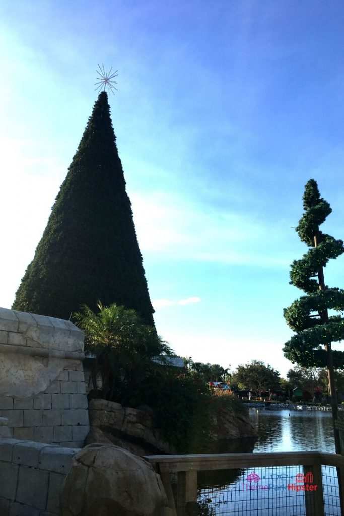 SeaWorld Christmas Celebration with Giant Christmas Tree in the water