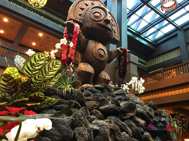 Christmas at the Polynesian Resort with Tiki God in Holiday Garb