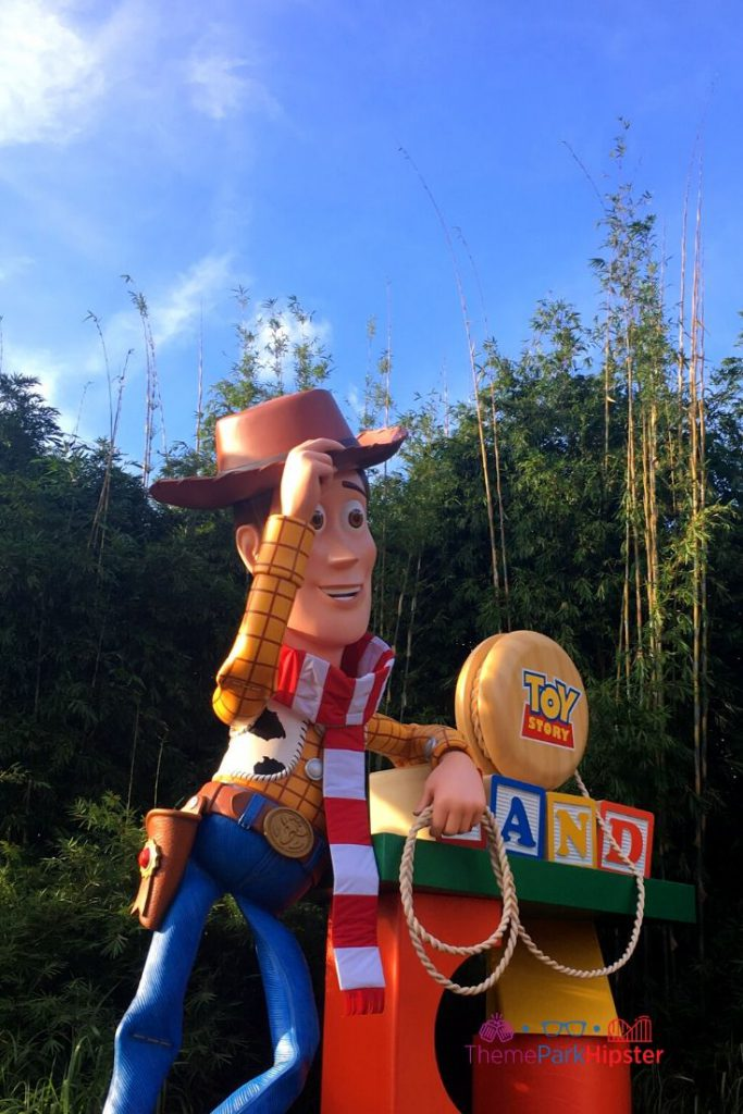 Christmas in Toy Story Land with Woody in Santa Scarf