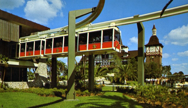 Close up view of skyrail at the Busch Gardens theme park in Tampa Florida
