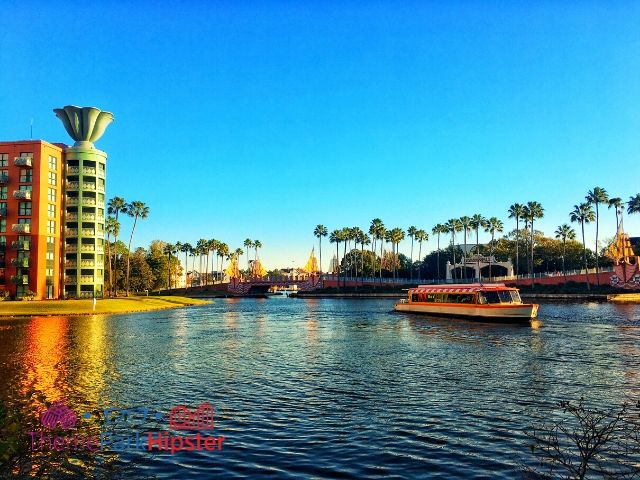 Dolphin Hotel Resort with Disney Boat on Lagoon. safety tips for solo travel.