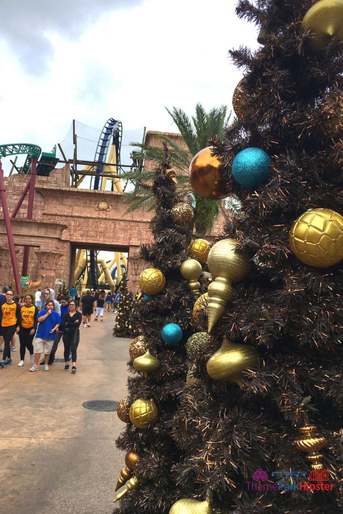 Egypt Area at Busch Gardens Tampa during Christmas with Montu in the Background