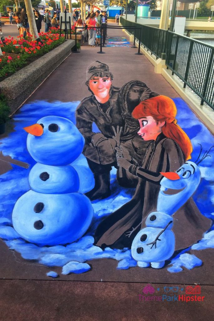 Epcot Festival of the Arts 3D Art Chalk of Frozen Characters