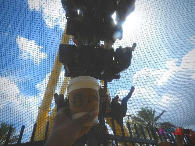 Montu at Busch Gardens with starbucks coffee